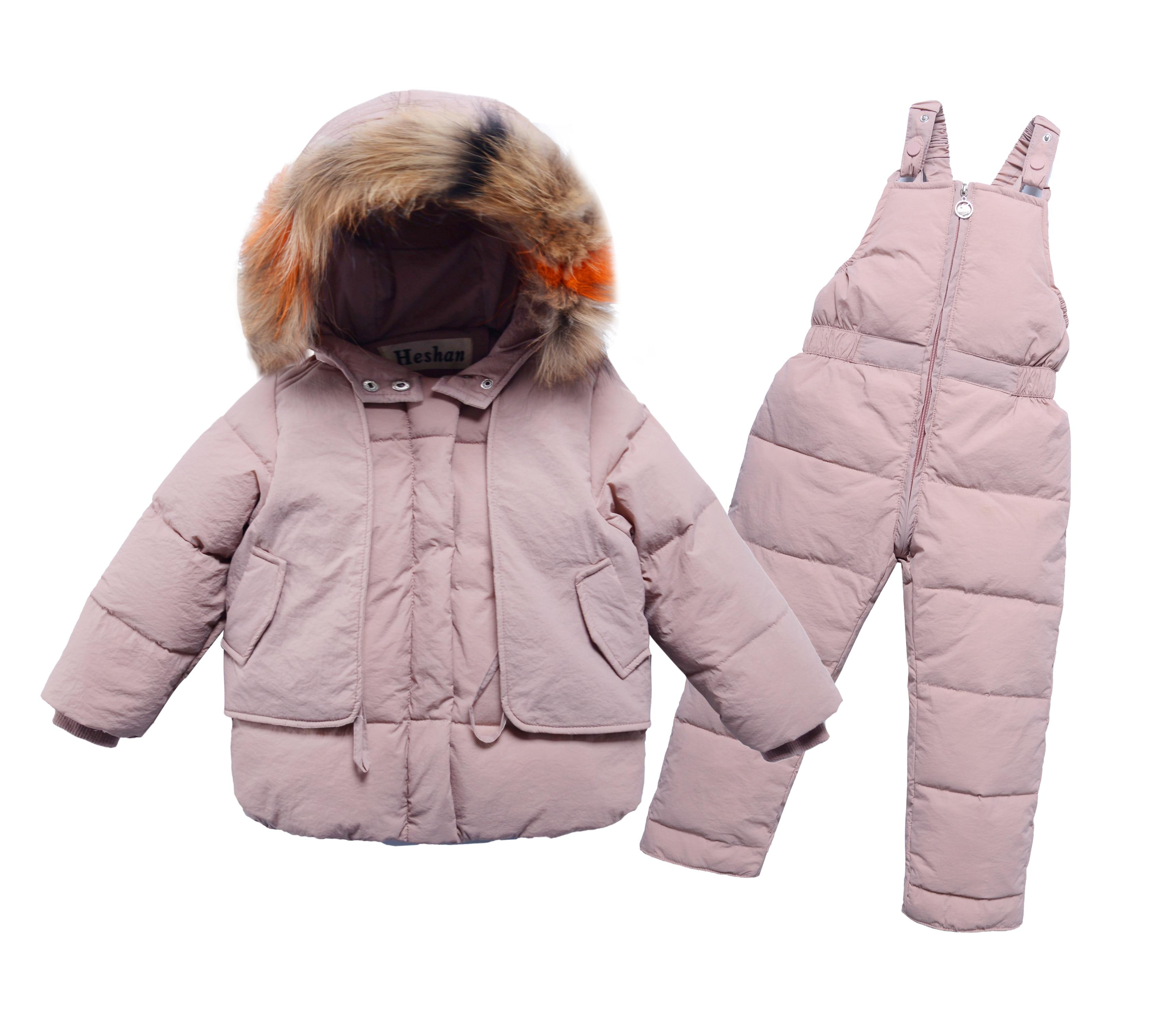 Hiver bébé garçons filles Ski costume chaud blanc canard vers le bas fourrure col enfant manteau + pantalon enfants vêtements ensembles enfants tenues pour 80-130cm