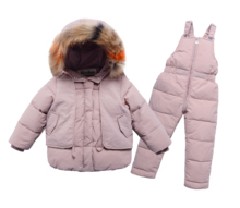 Winter Baby Boys Girls Ski Suit Warm White Duck Down Fur Collar Child Coat+Pant Kids Clothes Sets Children Outfits For 80-130cm