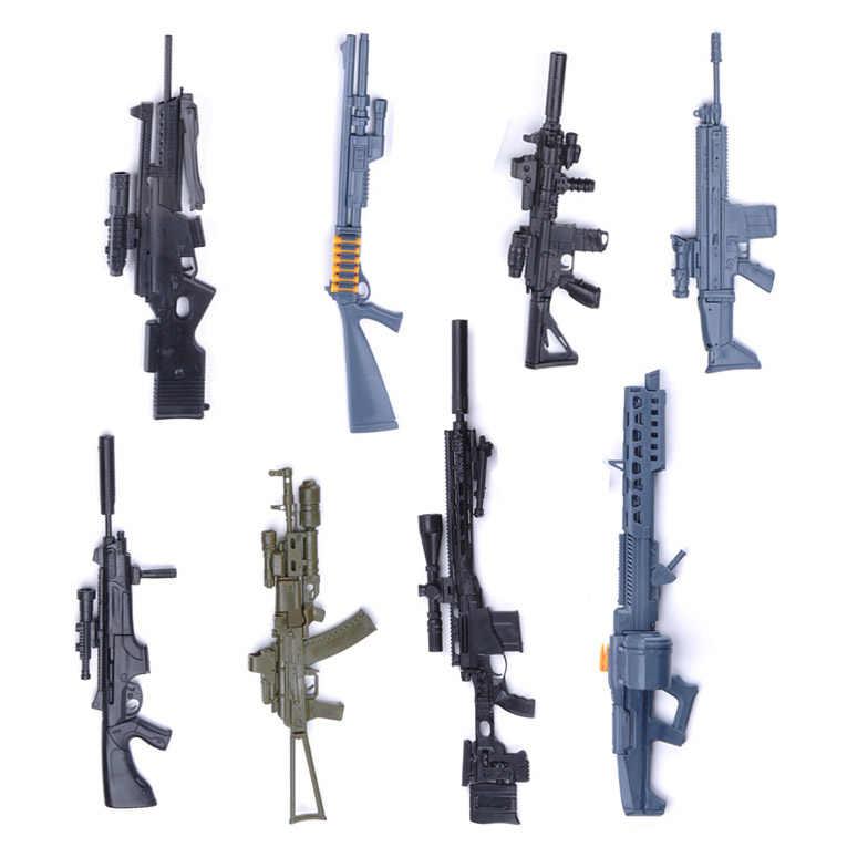 1:6 Skala Dirakit Gun Model Senjata FN Bekas Luka AK 74 Senapan Sniper HK416 Senapan Mesin Ringan Simulasi Militer Mainan Warna Secara Acak