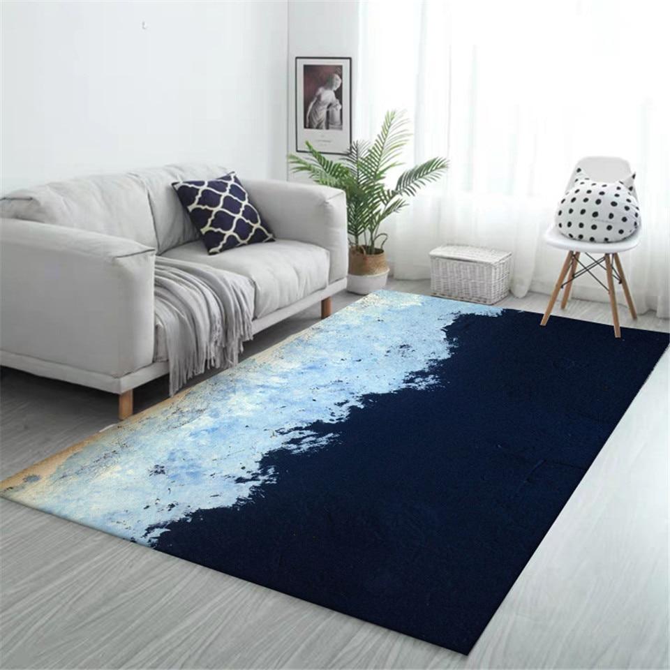 Korean Style Dark Light Blue Patch Floor Mats For Living Rooms Fashion Bedroom Rug Hallway Rugs Striped Kitchen Mat Doormat