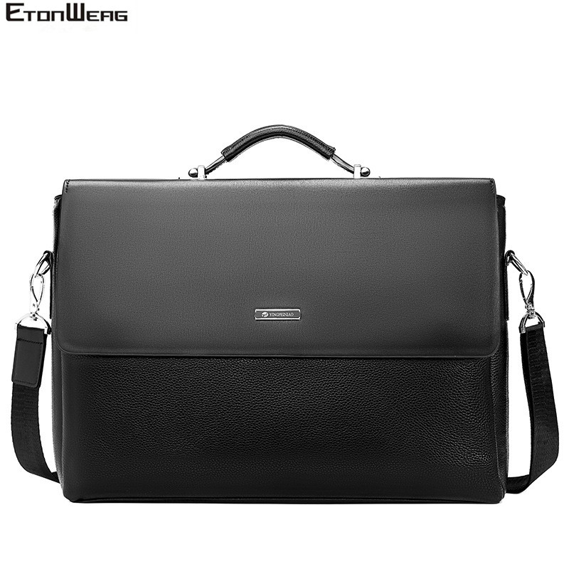 2019 Fashion Business Men Briefcase Leather Laptop Handbag Tote Casual Man Bag For Male Shoulder Bag Male Office Messenger Bags