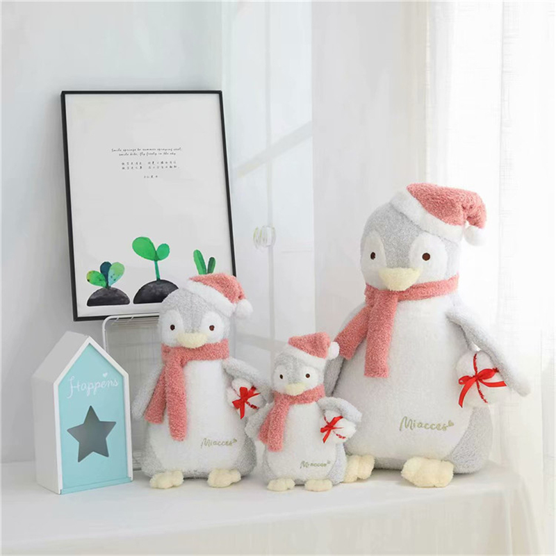 New 1pc 23cm/33cm/48cm Kawaii Christmas Hat Penguin Plush Toy Soft Stuffed With Scarf Doll Baby Children Lovers Birthday Gift image