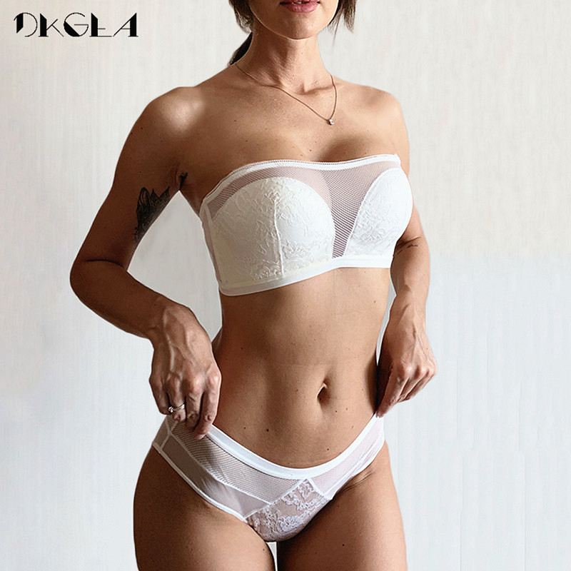 White Tube Top Lace Lingerie Set Seamless Brassiere Cotton Women Bra Panties Sets Embroider Wedding Dress Underwear Set Sexy Bra