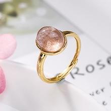 טבעות 925 כסף סטרלינג טבעי תות קוורץ ורוד חרוזים מצופה זהב טבעת לנשים מתנות מתכוונן