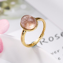 Rings 925 Sterling Silver Natural Strawberry Quartz Pink Beads Plated Gold Ring For Women Gift Fine Jewelry Adjustable