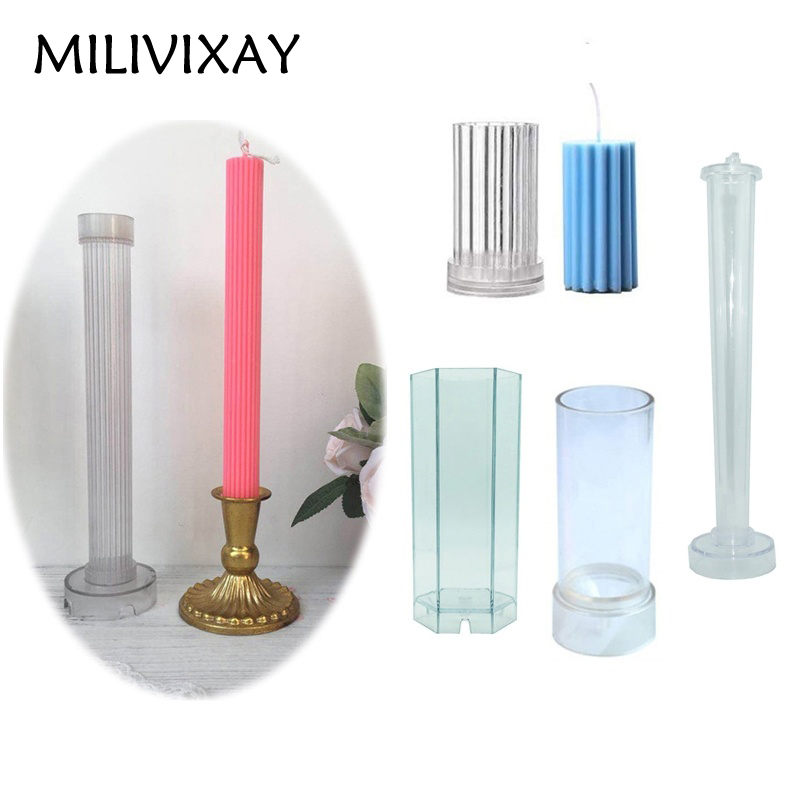 Pillar Candle Making Mould Cylinder Round Spiral Scented Candle Making Molds DIY Candle Making Supplies Plastic Candle Mold for Candle Making