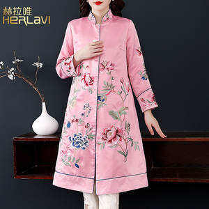 Dress Long-Coat Chinese-Style Industrial-Embroidery Autumn WOMEN'S Fragrance Glorious