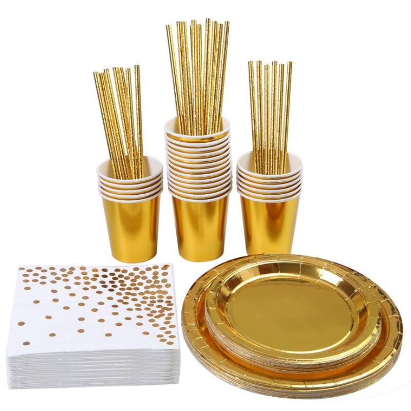 100 pçs azul dourado ouro festa talheres copo placa guardanapo palha festa de aniversário casamento decoração 030|Talheres de festa descartáveis|   -