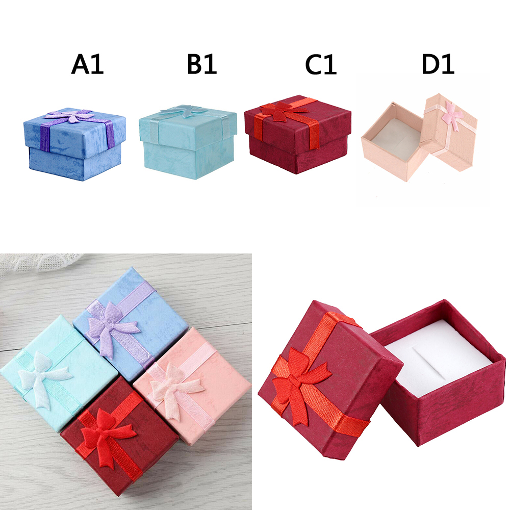 24Pcs/Lots Ring Earring Display Gift Box Bowknot Square Case Size 4*4CM Jewelry Cardboard Display Gifts Boxes