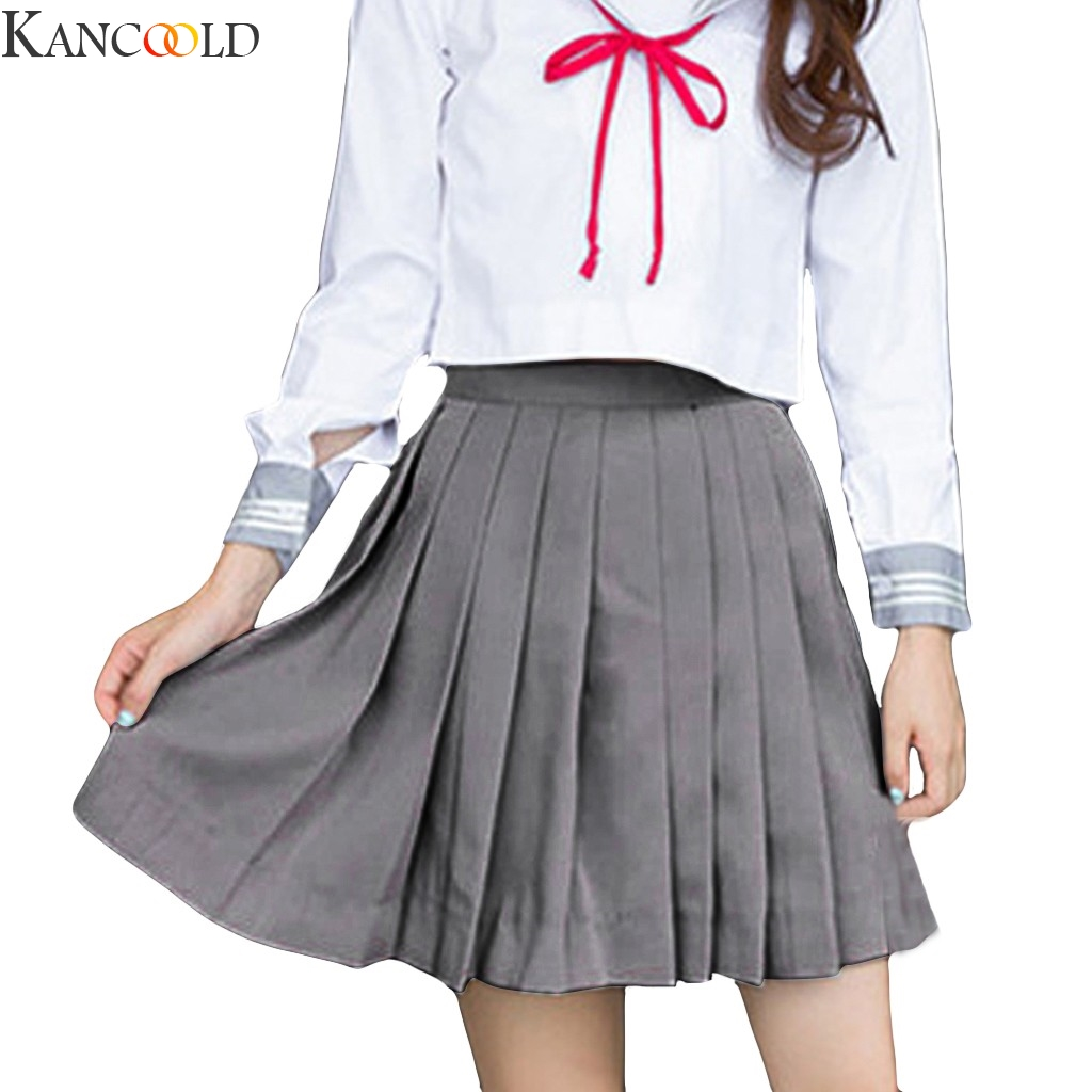 KANCOOLD Women Slim Short Pleated Skirts New Fashion Korean Winter Pure Color All-match High Waist Pleated Skirt New Arrival