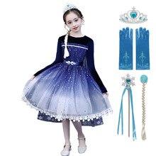MUABABY niñas de invierno de Elsa vestido de terciopelo de los niños princesa Cosplay ropa copo de nieve impresión lentejuelas encaje reina de la nieve vestidos 2-10T