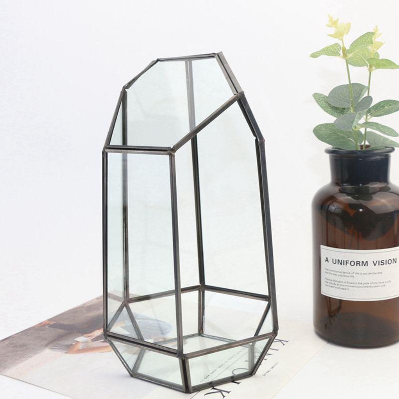 9.4in Height Indoor Tabletop Irregular Glass Geometric Air Plants Terrarium Box 517F