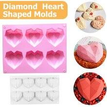 6 cavité diamant amour Silicone gâteau moule Silicone 3D coeur forme Fondant gâteau Mousse chocolat cuisson moule modélisation décor