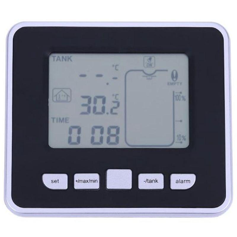 Haut!-compteur d'eau de débit de niveau de liquide de réservoir à ultrasons sans fil avec des vis de montage d'émetteur de réservoir d'eau de température mesurant à