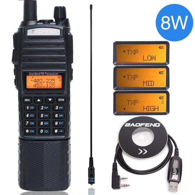 Baofeng UV 82 8 W Walkie Talkie Uv82 Dual Band + NA 771 เสาอากาศ + สายโปรแกรม 10KMยาวUV 82 สำหรับล่าสัตว์เดินป่า