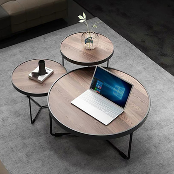 Round Coffee table set kitchen table wood coffee table with metal legs MDF table top modern European style for russian home