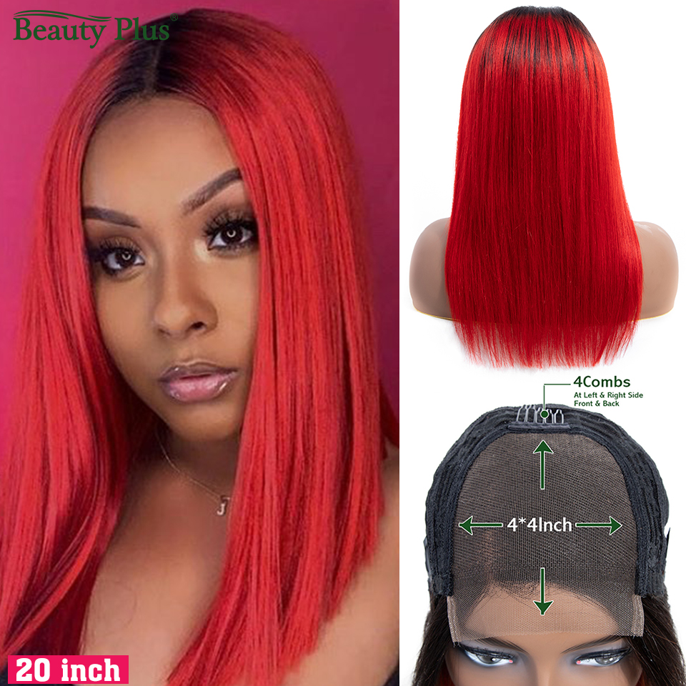 Ombre Colored Human Hair Wigs 1B Red Brazilian Straight 4*4 Lace Closure Wigs 150% Density Pre Plucked Lace Wigs Non-remy Hair