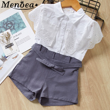 Menoea Girls Suits 2017 New Summer Style Children Ice-cream Printed  Sets Kids White T-shirt and Pink Pants 2 Pieces Clothing new girls v neck strap dress hot long denim jeans two pieces suits shirt dress kids clothing sets white stripe button