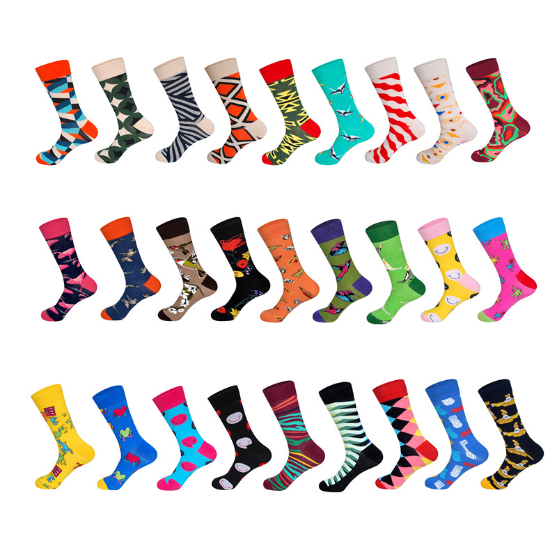 LIONZONE Men Novelty Cotton Colorful Smiley Geometric Diagonal Stripes Totem Submarine Tube Male Socks Unisex Socks
