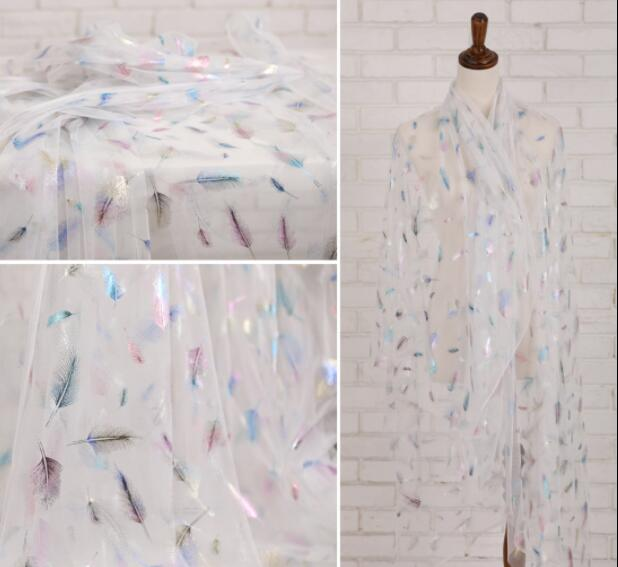 50*145CM Color gilded feather perspective fabric brokaat stoffen dress sewing machine patch textiles diy polyester fabric C849