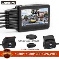 Conkim New K2S Dash Cam 2 Cameras 1080P Full HD With GPS + WIFI Speed Cam Novatek Car DVR Super Capacitor K1S Upgrade Version