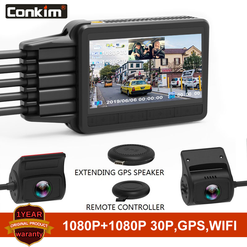 Conkim nowa kamera na deskę rozdzielczą K2S 2 kamery 1080P Full HD z GPS + WIFI Speed Cam Novatek wideorejestrator samochodowy Super kondensator K1S Upgrade Version