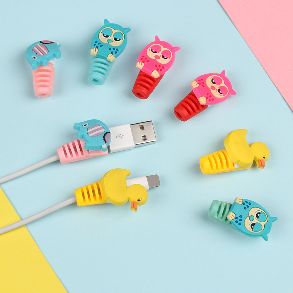 2Pcs Cute Animals Cable Protector Bobbin Winder Data Line Case Rope Protection For IPhone Android USB Earphone Cover Accessories
