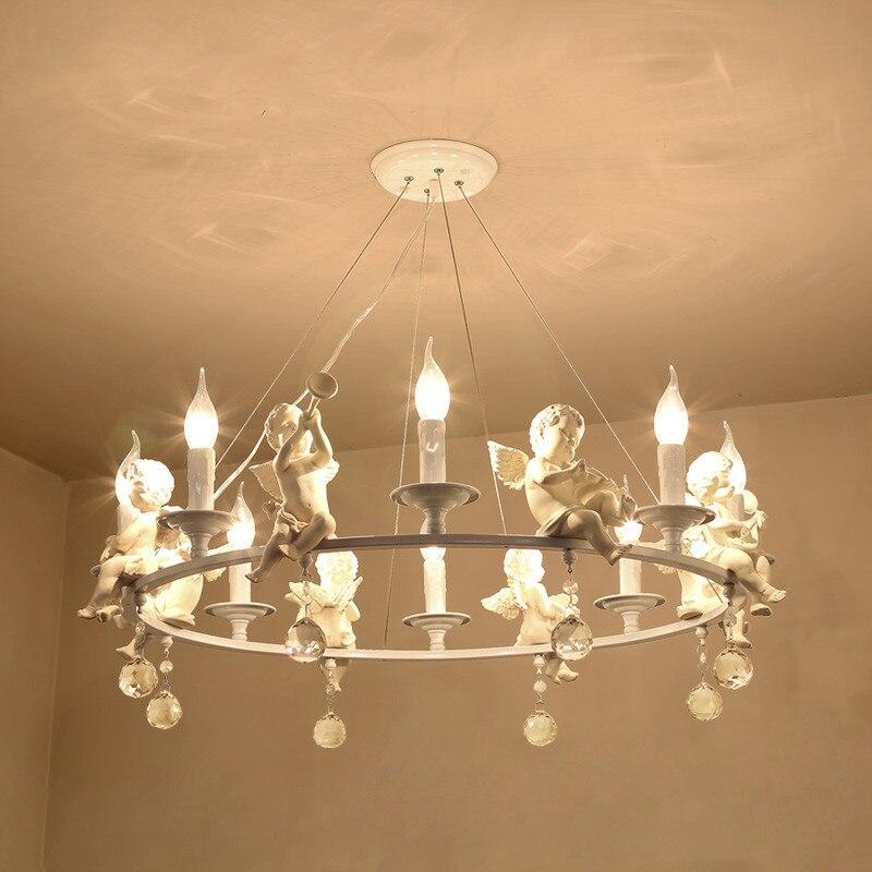 Modern Kids Room Chandelier Resin Angels Pendant Lamp With Decorative Crystal Bedroom Nursery Girl room Chandelier