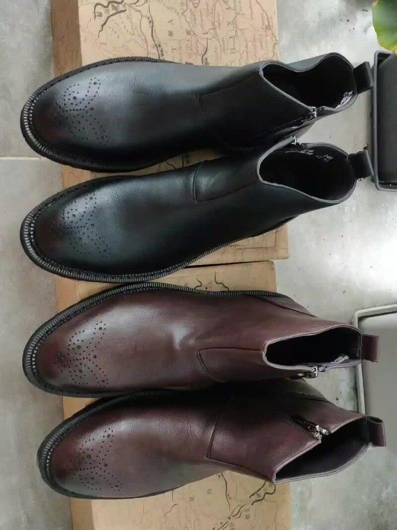 Mens Sapatos de Couro Genuíno Pele De Porco RidingEquestrian Outono Britânico Homens Botas de Trabalho de Couro Genuíno para Homens Sapatos Com Pregos - 2
