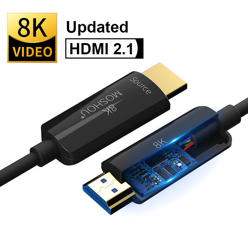 MOSHOU волоконно-оптический кабель HDMI 2,1 Ultra-HD (UHD) 8K кабель 120Hz 48Gbs с аудио видео HDMI шнур HDR 4:4:4 без потерь усилитель