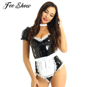 Image 1 - Women Naughty Lingerie Erotic Latex Catsuit Sissy Outfits French Maid Cosplay Costume Clubwear Wet Look Patent Leather Bodysuit
