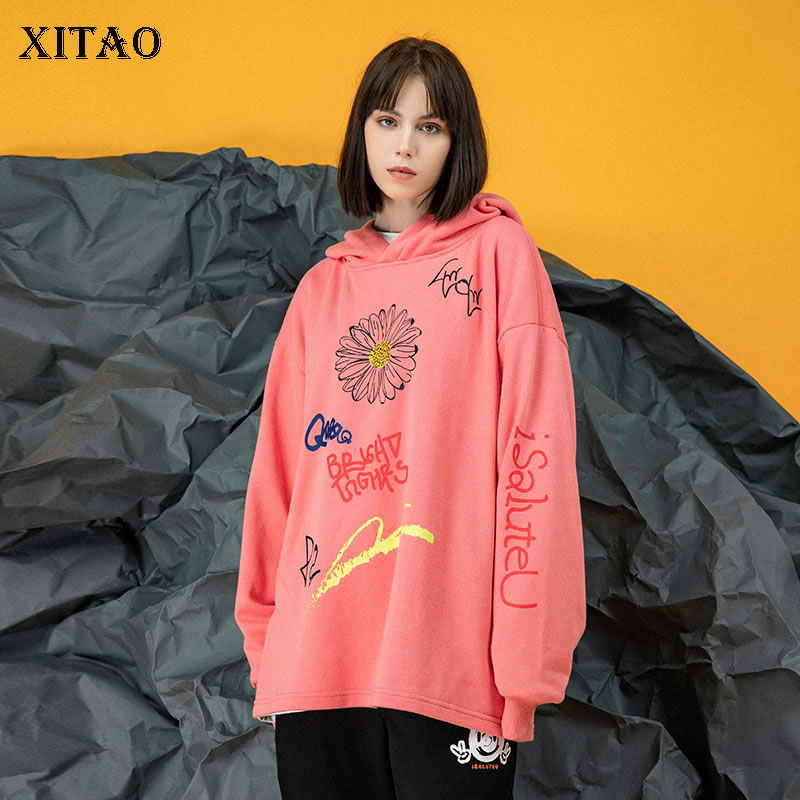 XITAO Print Letter Pattern Hoodies Fashion Women Full Sleeve 2020 Spring Goddess Fan Minority Loose Small Fresh Hoodies DMY3405