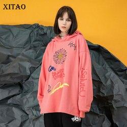 XITAO Print Letter Pattern Hoodies Fashion Women Full Sleeve 2020 Spring Goddess Fan Minority Loose Small Fresh Hoodies DMY3405