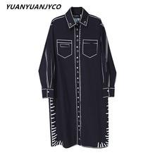 YUANYUANJYCO Spring Autumn Women Knee-Length Casual Cotton Shirts Dress LLYQ81 Fashion Graffiti Straight Long Sleeve Midi Clothe