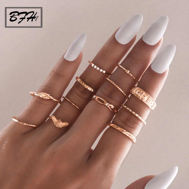BFH Vintage Gold Rings For Women Bohemia Ethnic Silver Heart Bow Twist Finger Ring Set 2019 Knuckle Fashion Jewelry