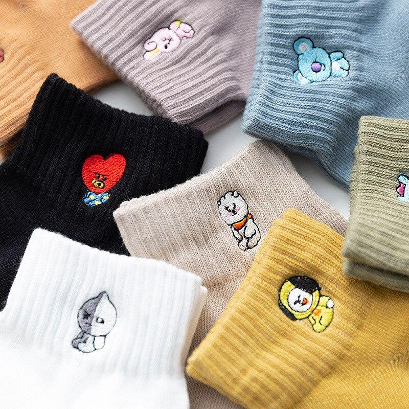 В мультипликационном стиле с принтом (животные) Носки kawaii милые meias divertidas Забавный корейский стиль для женщин женские носки, calcetines, skarpetki femme ...