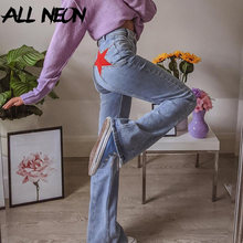 ALLNeon Y2K de moda de alta cintura de punto pantalones 90s estética estrella de cinco puntas, pantalones de Denim ropa informal ajustada azul Vintage
