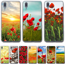 Gerleek Case for Huawei Y5 Y6 II Y7 Y9 2018 2019 Protection Cover Red Poppies On Black Style(China)