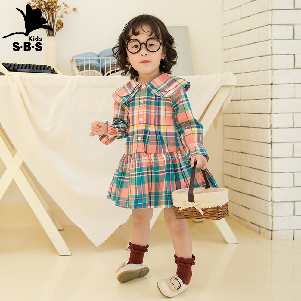 Girls Christmas Dress Casual Rainbow With Plaid Printing Cotton Dress Long Sleeves For Autumn New Kids Clothing Girls Dress Dresses Aliexpress