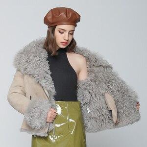 Image 3 - OFTBUY 2020 Winter Jacke Frauen Echte Doppel konfrontiert Pelzmantel Natürliche Mongolei Schafe Pelz Parka Biker Streetwear Vintage Mode