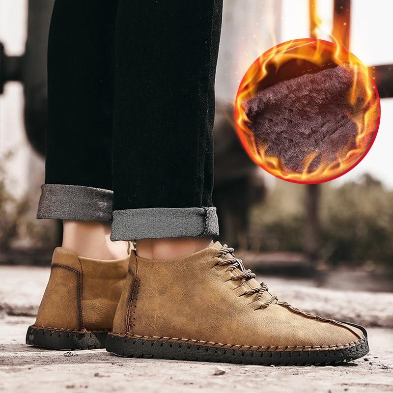 그녀 ERA 2018 새로운 따뜻한 겨울 남성 부츠 고품질 부드러운 가죽 캐주얼 남자 신발 모피 패션 부츠 플러스 사이즈 38 48-에서기본 부츠부터 신발 의  그룹 3