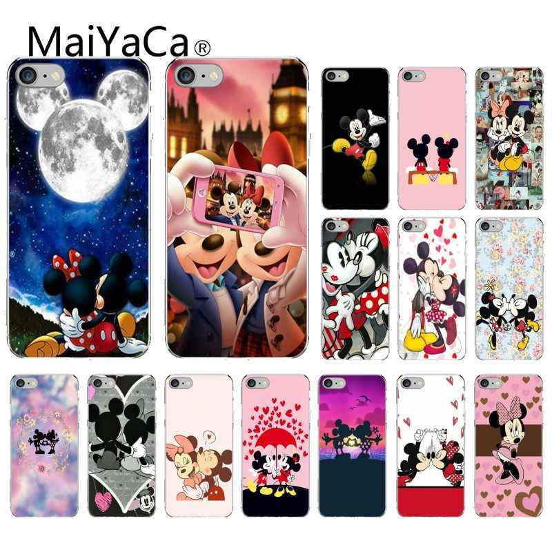 MaiYaCa จูบ Mickey Minnie Mouse DIY กรณีหรูหราสำหรับ iPhone 5 5Sx 6 7 7plus 8 8Plus X XS MAX XR Fundas Capa