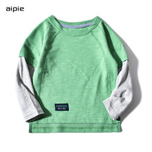 Kids T-shirts New Casual Color matching stitching long sleeves Children boys t-shirts clothing cotton 100% active random print stitching long sleeves t shirts