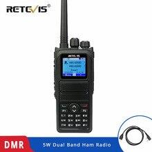 Retevis, 5W, RT84, DMR, Digital/Walkie, parlanchín analógico, doble banda, Radio de mano de 3000 canales, Ham, transmisor de Radio Ameur + Cable de programación