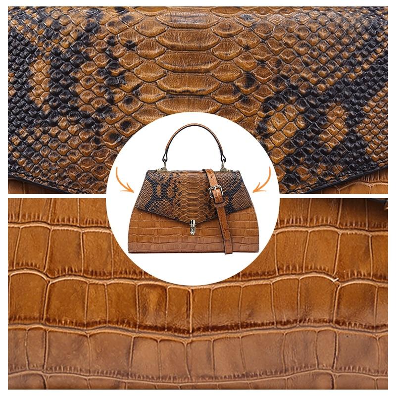 Qiwang élégant sacs à main pour femmes sacs à poignée supérieure en relief en cuir véritable Desinger dame sac à main 2019 marron fourre tout sacs à bandoulière - 4