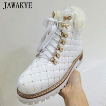 JAWAKYE Shiny Plaid Leder Wolle Stiefel für Frauen High Top Lace Up Plattform Schuhe Pelz Kragen Warme Winter Schuhe Kristall kurze Bota