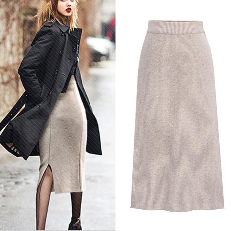 Зимняя женская толстая юбка осень зима теплая трикотажная прямая юбка миди эластичная юбка средней длины с разрезом сзади эластичная юбка