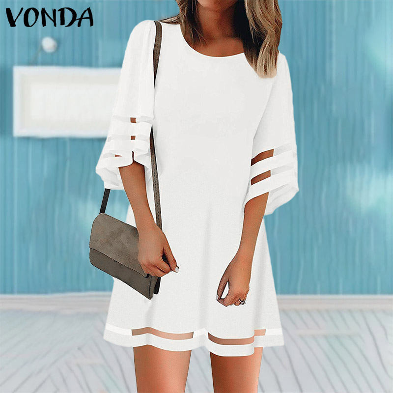 VONDA Summer White Dress Women Vintage 3/4 Flare Sleeve Hollow Party Vestido 2020 Holiday Dress Beach Sundress Plus Size S-5XL