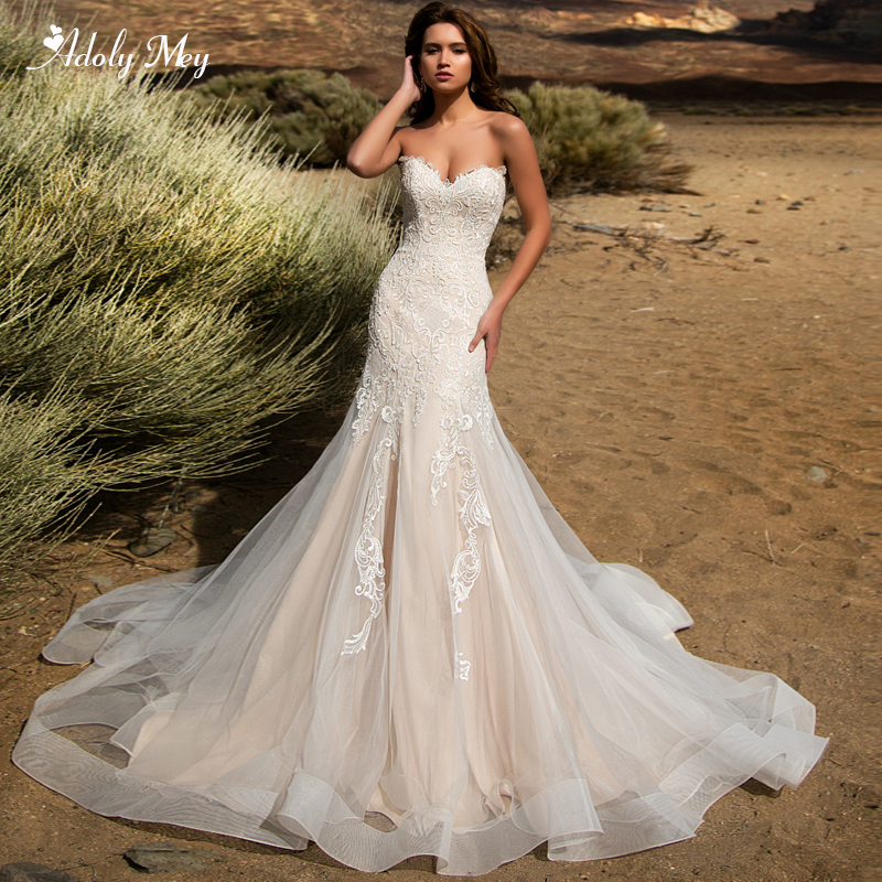Adoly Mey New Arrival Sexy Strapless Lace Up Mermaid Wedding Dress 2020 Gorgeous Appliques Detachable Train Vintage Bridal Gown