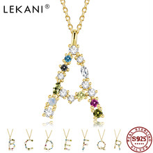 LEKANI 925 Sterling Silver Necklace For Women Gold Letter M Pendant Initial F 26 Alphabet Necklaces Opals Zirconia 2021 Jewelry
